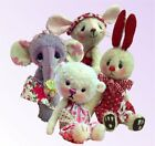 Soft toy teddy bear, rabbit,  mouse or elephant sewing patterns. One or All