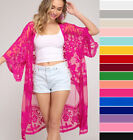 She  Sky Embroidered Lace Kimono Sleeve Open Front Cardigan Jacket Long Duster
