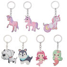 Cartoon Unicorn Dog Mermaid Dangle Acrylic Keychain Bag Pendant Unisex Keyring