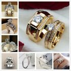 Women Gold Filled Diamond Engagement Ring Set Couples Wedding Ring Jewelry Gifts