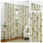 Ready Made Curtains Fully Lined Eyelet Ring Top All Sizes Green Leaf Pattern