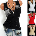 Sleeveless Rhinestones Star Tank Vest Women Zipper Blouse T Shirt Fashion Tops