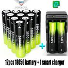 12x 18650 Battery 5800mAh 3.7V Li-ion Rechargeable+Charger For Flashlight Torch
