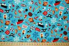 Shawn Wallace - Riley Blake 'Pirate's Life' 100% Cotton by the FQ Treasure/Shark