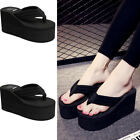 Women Platform Flip Flops Wedges Slippers Thick High Heel Sandals Beach Shoes