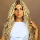 24'' Womens Full Wig Ombre Blonde Flaxen Wavy Long Synthetic Hair Cosplay Wig