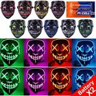 Halloween Scary Mask LED Costume Mask EL Wire Light Up The Purge Movie 3-Modes