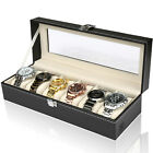 6/10/12 Grid Glass Lid Watch Display Box Storage Organiser Holder Faux Leather