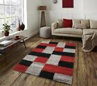 New Large Modern Bright Quality Red Rugs Grey Soft Thick Long Pile Rug Runners