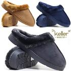 Ladies Wide Fit Slippers New Womens Faux Suede Warm Fur Winter Mules Shoes Size