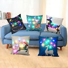 Christmas XMAS Led Light Linen Throw Pillow Case Sofa Cushion Cover Home Decor