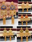 Indian Bollywood Pearl Polki Gold Tone Multi Color Bridal Partywear Earring Set