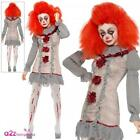 Ladies Vintage Clown Costume Halloween Horror Circus Adults Womens Fancy Dress