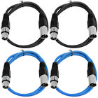4 Pack of XLR Patch Cables 2 Foot Extension Cords Jumper 3 Pin - Various Colors