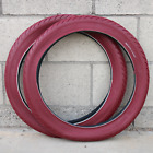 """PAIR OF FIT BIKE CO BMX T/A 20 X 2.40"""" BICYCLE TIRES RED 65 PSI PRIMO ODYSSEY"""