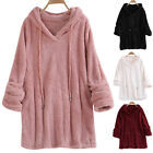 Womens Long Sleeve Autumn Winter Fleece Tops Casual Hooded Hoodie Pullover Tops
