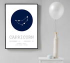 Zodiac Star Sign Wall Art Print Home Decor Blue Astrology Signs Poster Design