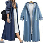 Women Single Jean Long Hood Coat Open Breasted Sweatshirt Jacket Fashion Outwear