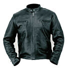 Mens Genuine Naked Buffalo Leather Motorcycle Jacket Coat Biker Zip Out Liner