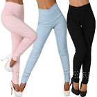 Stretch Hose hoher breiter Bund Perlen Treggings Leggings Röhre Stoff High Waist