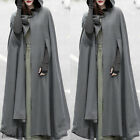 Women's Loose Wool Poncho Winter Warm Coat Jacket Long Cloak Cape Parka Outwear