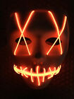 "Light Up Masks ""Stitches"" LED Costume Mask (Halloween Rave Cosplay Edm Purge)"