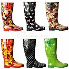 Womens Girls Wellie Wellington Festival Rain Boots Animals Dogs Pugs Horses Farm