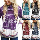 Womens Hooded Hoodies Sweatshirt Xmas  Elk Printed Pocket Pullover Tops