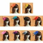 Women Small Felt Topper Glitter Powder Fascinator Hat Flower Feather Hair Clip