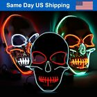 LED Skull Mask Halloween Costume Purge Masks Light Up for Festival Cosplay Party