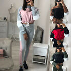 Fashion Womens Lace-Up Sports Suit Full Tracksuit Casual Slim Fit Tops+Pants Set