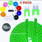 Внешний вид - 4 PACK 10FT Flat Braided Fast Charge Micro USB Cable Rapid Cord Quick Charger