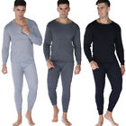 Thermals Mens 2 pc Long Set Merino Wool Blend Thermal Underwear Black or Beige