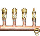 "1 1/4"" Copper Manifold 5/8"" Comp. Pex-AL-Pex (With & W/O Ball Valves) 2-12 Loop"