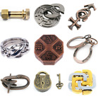 Metal Puzzle Game Vintage Lock Key Brain Teaser Classic-IQ Toy for Adult Kid