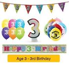 Happy 3rd Birthday AGE 3 Party Balloons Banners Badges Decorations Helium