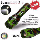 1200 lm Tactical T6 LED Flashlight Zoomable Military Torch Lamp Light 18650 MN