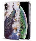 For iPhone 7 / 8+ PLUS / XS Max - Hard Rubber Gummy Case Cover Glitter Peacock