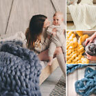 Handmade Large  Chunky Knit Blanket Wool Thick Yarn Knitted Throw Winter Warm image