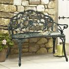 Floral Rose Accented Metal Garden Patio Bench w/ Antique Fi