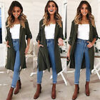 Womens Spring Long Sleeve Waterfall Cardigan Trench Long Coat Duster Jacket Tops