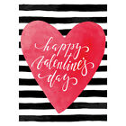 Large Heart On Stripe And Happy Valentine's Day Holiday Decor Home Garden Flag