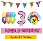 Happy 3rd Birthday AGE 3 Party Balloons Banners Decorations Badges Helium GIRL