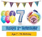 Happy 7th Birthday AGE 7 Party Balloons Banners Badges & Decorations Helium BOY