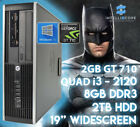 Fast Gaming Hp Bundle Tower Pc Full Set Computer System Intel I3 8gb 2tb Gt710