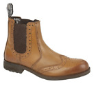 Mens Softie Leather Brogue Dealer Boots In  tan