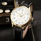 KS Elegant Mens Automatic Mechanical Date Day 24 Hours Leather Wrist Watch Gift