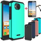 For Alcatel Tetra/5041C/6753B Shockproof Armor Bumper Rubber Case+Tempered Glass