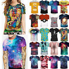 Mens Womens Casual 3D Print Graphic T Shirt Short Sleeve Slim Fit Tee Top Blouse image