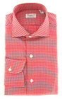 New $425 Finamore Napoli Red Shephard's Shirt - Extra Slim -(F117189)